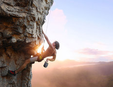 Rock Climbing Over Valley Mural Wallpaper