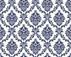 Royal Blue Victorian Damask Wallpaper