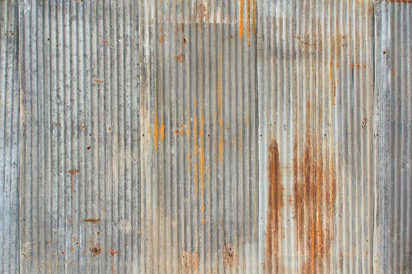 Rusted And Weathered Corrugated Metal Wall Mural