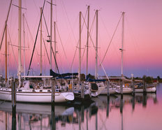 Sailboats at Dusk Wallpaper Mural