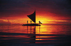 Sailing Outrigger, French Polynesia Wallpaper Mural