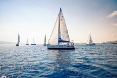 Sailing Ship Yachts With White Sails Wallpaper Mural