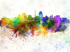 San Antonio Watercolor Skyline Wall Mural