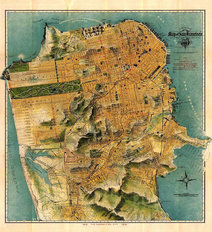 San Francisco, CA 1915 Map Wallpaper Mural