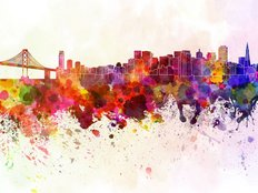 San Francisco Skyline Watercolor Wall Mural