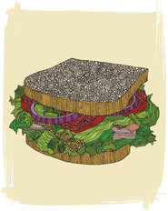 Sandwich Mural Wallpaper