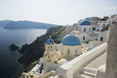 Santorini Blue Domes Wallpaper Mural