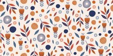 Scandinavian Folk Art Tulip Pattern Wallpaper