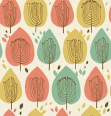 Scandinavian Leaf Pattern Wallpaper