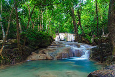 Scenic View Of Erawan Waterfall Wall Mural