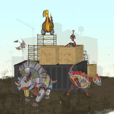 Scrapyard Scouts Construction Scene Wall Mural