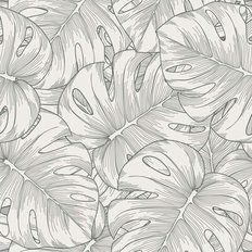Monstera Leaf Line Pattern Wallpaper