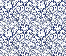 Royal Blue and White Damask Wallpaper