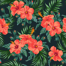 Hibiscus Palm Pattern On Black Wallpaper