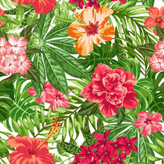 Plumeria and Hibiscus Pattern Wallpaper