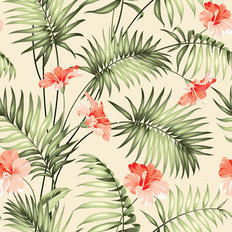 Plumeria And Frond Pattern Wallpaper
