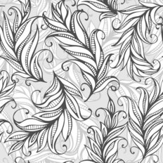 Curly Feather Pattern Wallpaper