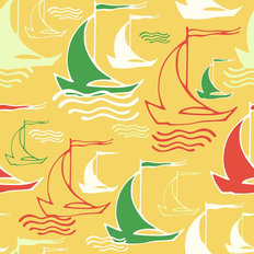 Sailboat Squiggle Pattern - Yellow Wallpaper
