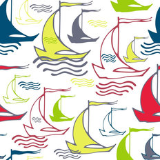 Sailboat Squiggle Pattern - Bright Wallpaper