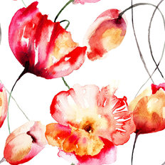 Poppy And Tulip Watercolor  Wallpaper