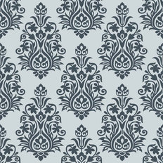 Seamless Silver Damask Design Wallpaper