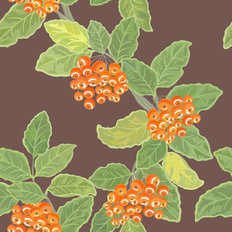 Rowan Leaves And Berries Pattern Wallpaper