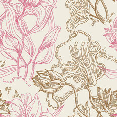 Lily Lines Pattern Wallpaper