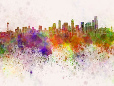 Seattle Skyline Watercolor Wallpaper