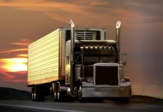Semi Truck On Highway Wall Mural