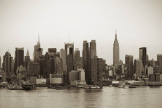 Sepia View Of New York City Mural Wallpaper