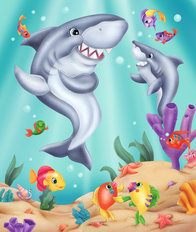 Shark Dance Mural Wallpaper