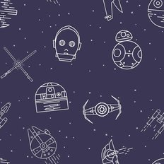 Ships And Droids Pattern Wallpaper - Blue