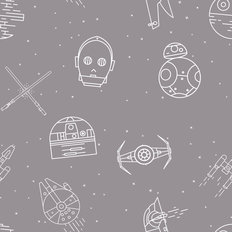 Ships And Droids Pattern Wallpaper - Gray