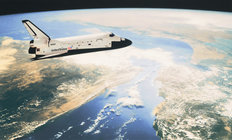 Shuttle In Orbit Mural Wallpaper