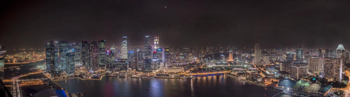 Singapore Panorama at Night Wall Mural