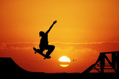 Skateboard Sunset Mural Wallpaper