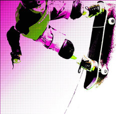 Skateboarder Abstract Wall Mural