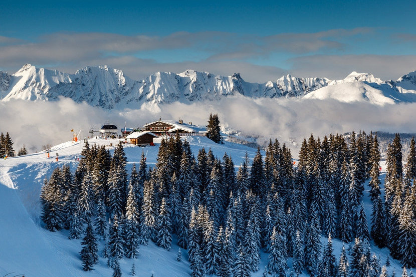 Ski Resort On A Mountain Peak In The French Alps Wall Mural
