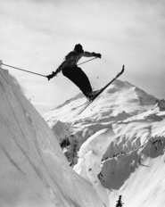 Skiier Leaps on Artist's Point, Mt. Baker Wall Mural