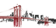 Skyline Crossing In Red Mural Wallpaper