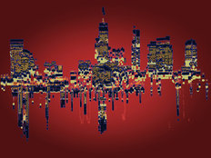 Skyline Red Wall Mural