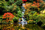 Small Waterfall In A Japanese Garden Wall Mural