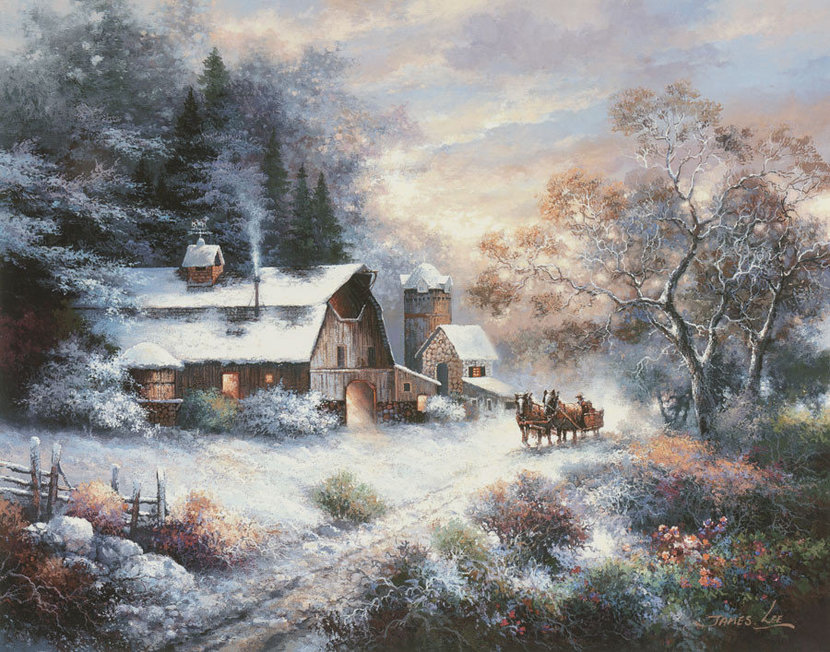 Snowy Evening Outing Wallpaper Mural