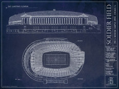 Soldier Field Blueprint Mural Wallpaper