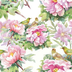 Songbirds And Peonies Wallpaper