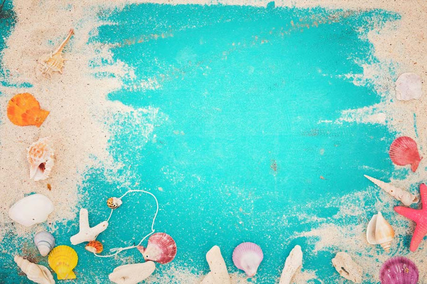 Starfish, seashells, and coral rest on a teal colored background with sand