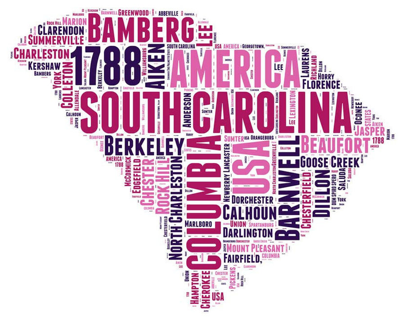 South Carolina Word Cloud Map Wall Mural