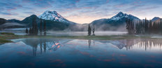 South Sister And Broken Top Reflect Over Calm Waters Of Sparks Lake Wall Mural