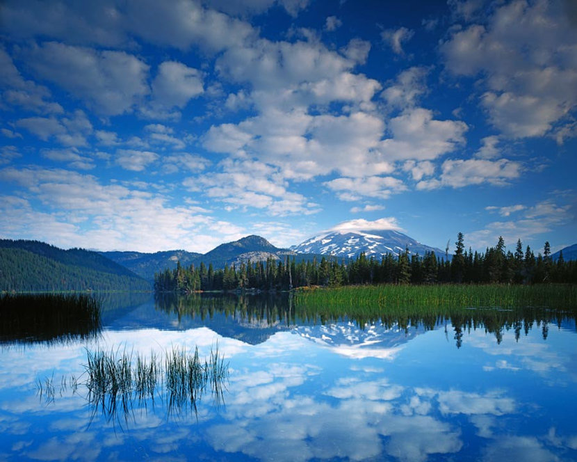 South Sister reflects in Sparks Lake