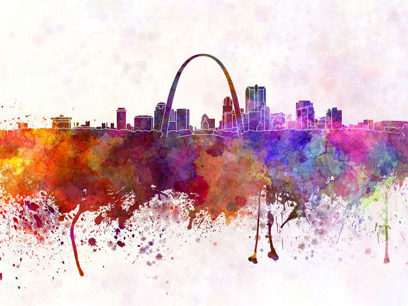 St Louis Skyline Watercolor